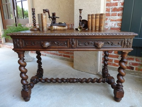 Great Carved Lion Mask Antique French Desk With Barley