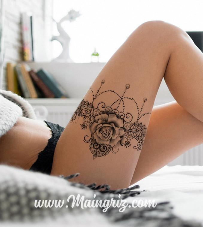 Strumpfband Zeichnung Tattoo / / Rose & Lace / / Female Tattoo Design für Tattoo …