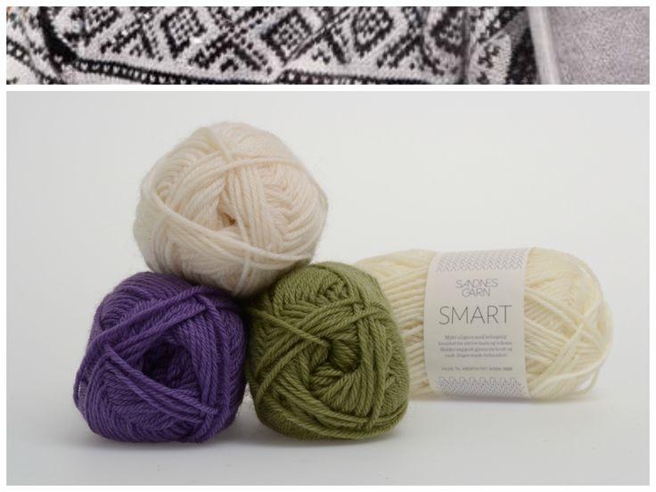 Marius med hvit mønster i garnet Smart  1001, 9544, 5226 #farger #fargekombinasjoner #garn #inspirasjon #marius