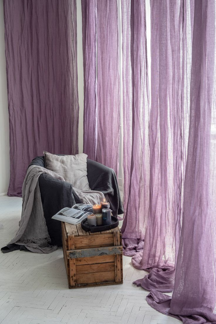 Sheer Linen Curtains In Lavender Color Breezy Violet Curtain