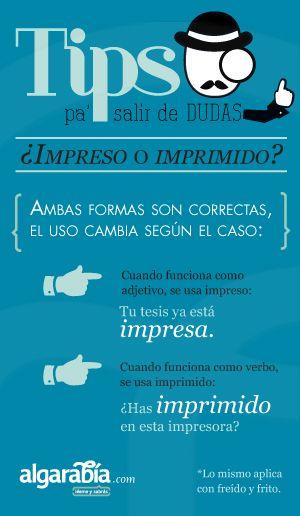 ¿Impreso o imprimido?  #Tip #Lengua #Español