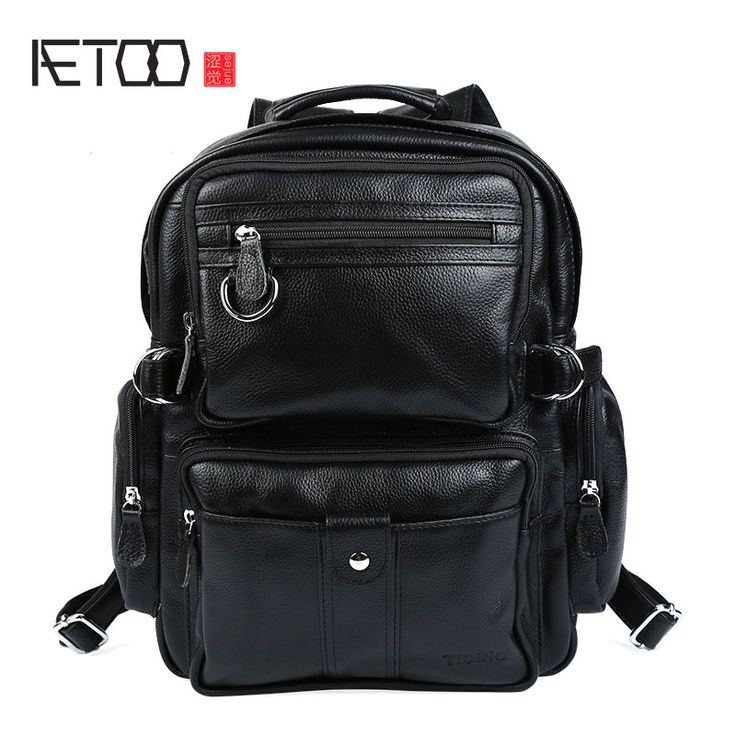 AETOO Personality men and women lychee pattern dual purpose backpack British college wind leather bag fashion square backpack