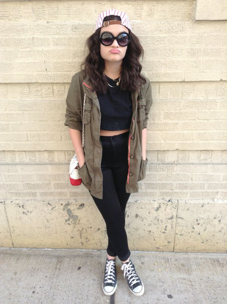 Black High-waisted Jeans Crop Top Army Jacket Cap | My Style | Pinterest
