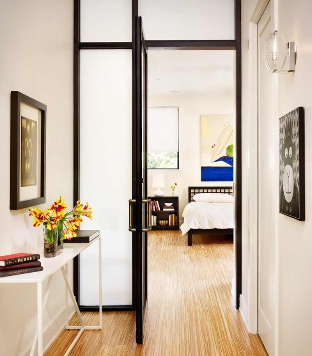 Love the opaque glass door and frame. Lets light through without lack of privacy.