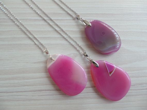Pink Agate Necklace Pink Gemstone Necklace Agate by EliteStone