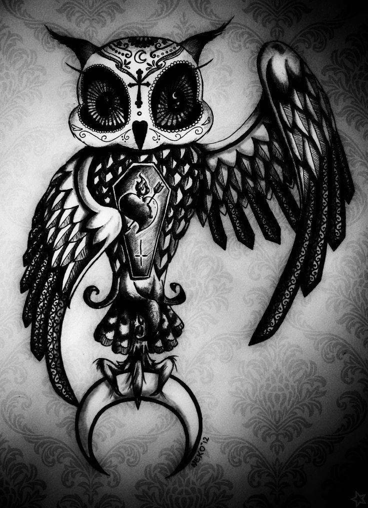 25 best ideas about sugar skull owl on pinterest pretty for Owl with sugar skull tattoo