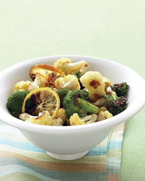 Roasted Broccoli & Cauliflower with Lemon and Garlic. Made this for dinner tonight, Awesome!!
