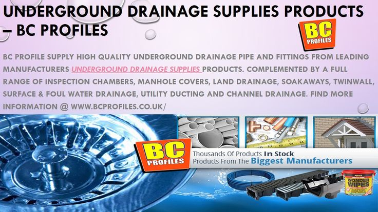 Bc Profile supply high quality underground drainage pipe and fittings from leading manufacturers Underground Drainage Supplies products. Complemented by a full range of Inspection Chambers, Manhole Covers, Land Drainage, Soakaways, Twinwall, Surface & Foul Water Drainage, Utility Ducting and Channel Drainage.
