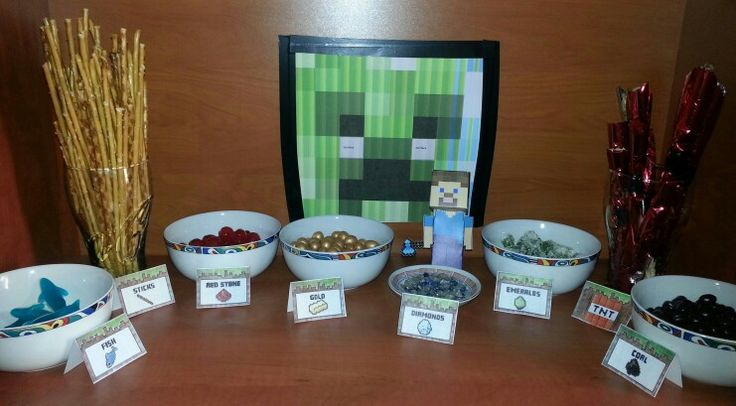 Petrecere Minecraft: jeleuri - fish, cireșe confiate - red stone, arahide glazurate - gold, cubulete de rahat - emeralds, saleuri învelite în staniol - TNT, stafide în ciocolată - coal, sticsuri - sticks ;) Am mai făcut un creeper din cutii de carton învelite în hârtie verde, o pinata din hârtie creponata verde cu față de creeper, săbii și tarnacoape din carton.  Copiii au fost încântați !