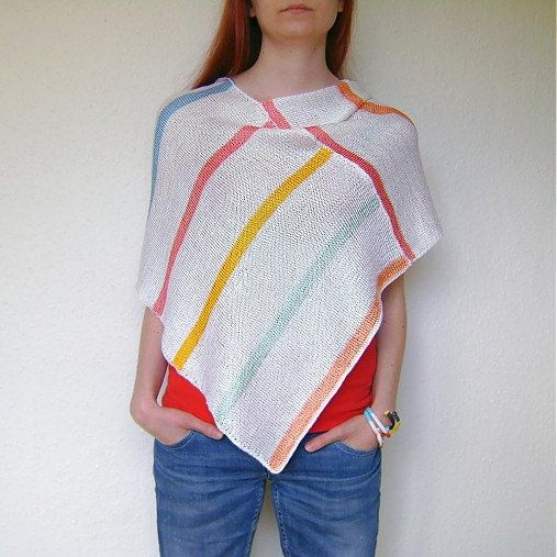 Summer Multicolor Poncho / Hand Knitted Multicolor by RUKAMIshop