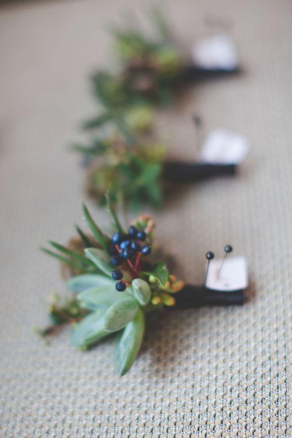 succulent + berry boutonniere, photo by 3Photography http://ruffledblog.com/toronto-winter-wedding #boutonnieres #winter #wedding