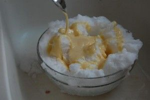 my family recipe for snow ice cream... easy and my favorite food in the universe! (too bad it's 70 degrees here in january!)
