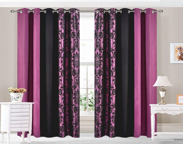 PAIR OF 3 TONE DAMASK DESIGN FULLY LINED EYELET CURTAINS. HIGH QUALITY 120 GSM DAMASK 3 TONE CURTAINS. PURPLE FLOCK DAMASK ON THE SIDES WITH PLAIN PURPLE AND BLACK. CURTAINS ARE LINED WITH 80 GSM BRUSHED WHITE LINING. | eBay!