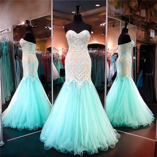Aqua/Nude Lace Mermaid Evening Gown 2016 Piping Prom Dresses With Sweetheart Sleeveless Applique Beads Tulle Lace Up Gorgeous Pageant Party Prom Dresses Lace Prom Dresses Lace Up Prom Dresses Online with $163.43/Piece on Olesa's Store | DHgate.com