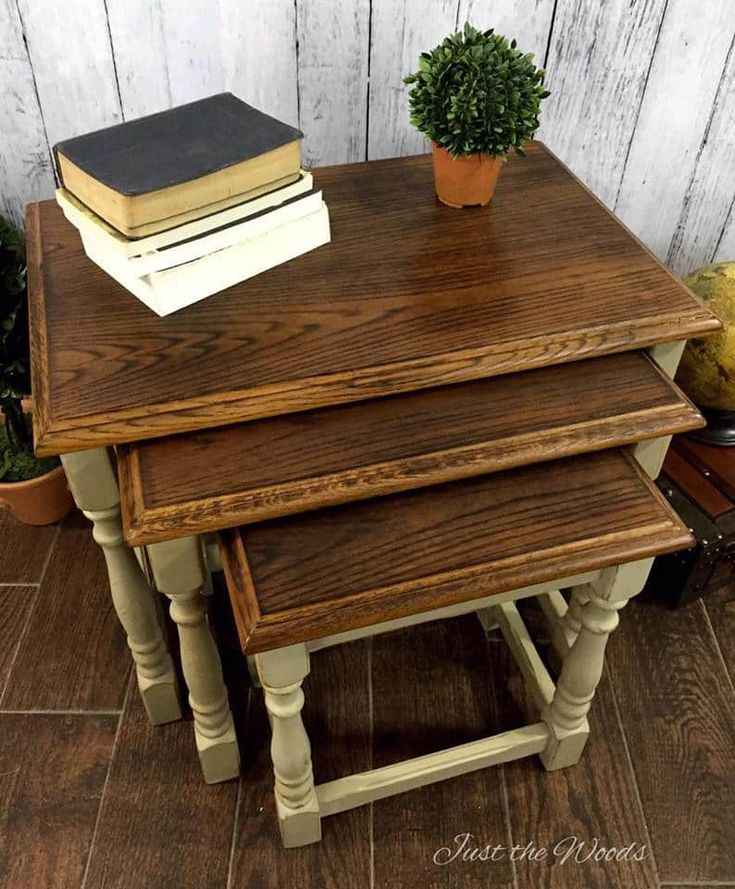 The Most Unique Way to Make Over Oak Stacking Tables. Oak stacking tables are given a makeover with wood burning. Use this wood-burning technique on your painted furniture or nesting tables for a unique result.