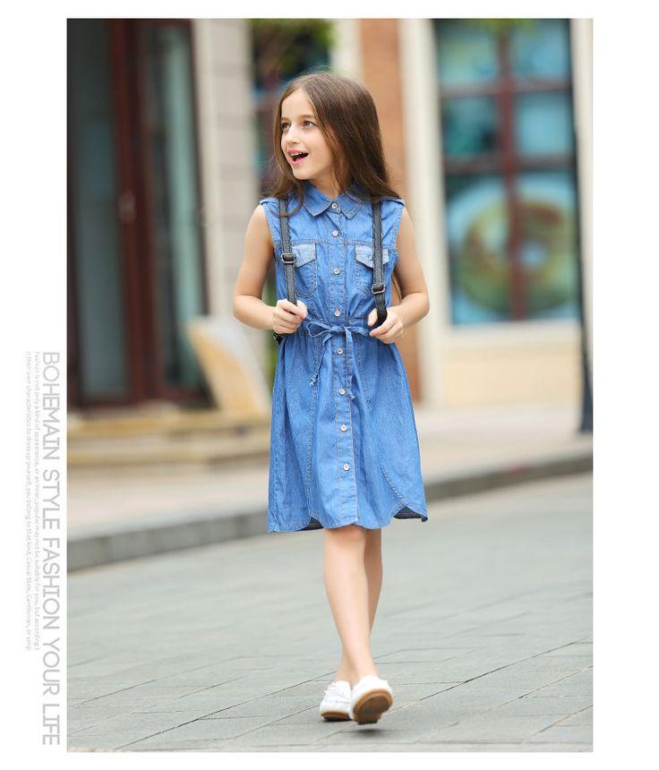 $25.00 (Buy here: https://alitems.com/g/1e8d114494ebda23ff8b16525dc3e8/?i=5&ulp=https%3A%2F%2Fwww.aliexpress.com%2Fitem%2F2016-Summer-Girls-Demin-Dresses-Dress-Girls-Clothes-10-11-13-14-16-years%2F32662647164.html ) 2016 Summer  Girls Demin Dresses  Dress Girls Clothes 10 11 13 14 16 years for just $25.00
