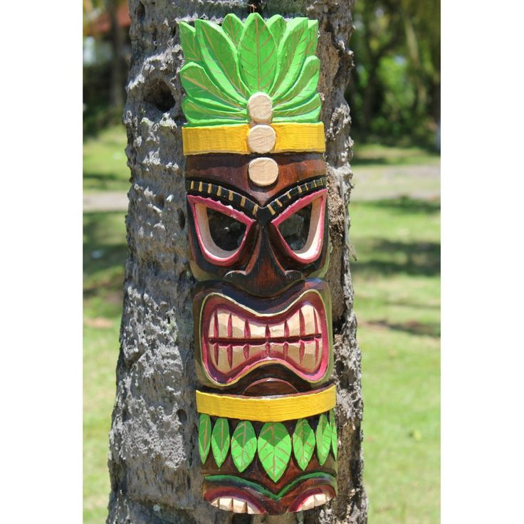 Fairtrade Carved Traditional Wooden Wiki Tiki Mask | 50cm