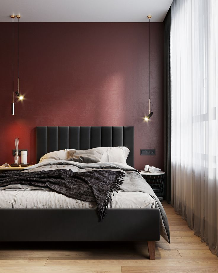 Bedroom With Red Accent Wall: Red Accent Wall Bedroom, Red Accent
