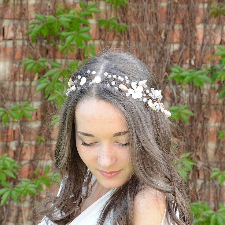 Beach Wedding Hair Vine, Sea Shells and Crystal Tiara, Nautical Wedding Headpiece, Destination Wedding crown, Bridal crystal Halo, headband by PrettyNatali on Etsy