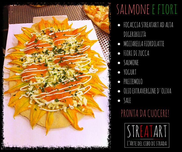 Pizza salmone e fiori - Streatart - Roma -  pizza ad alta digeribilità - soia - riso - mais - frumento - lievito madre - 72 ore di lievitazione