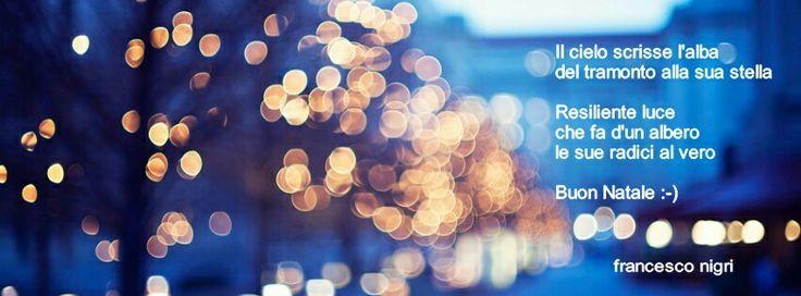 Il cielo scrisse l'alba del tramonto alla sua stella  Resiliente luce che fa d'un albero le sue radici al vero  Buon Natale :-)