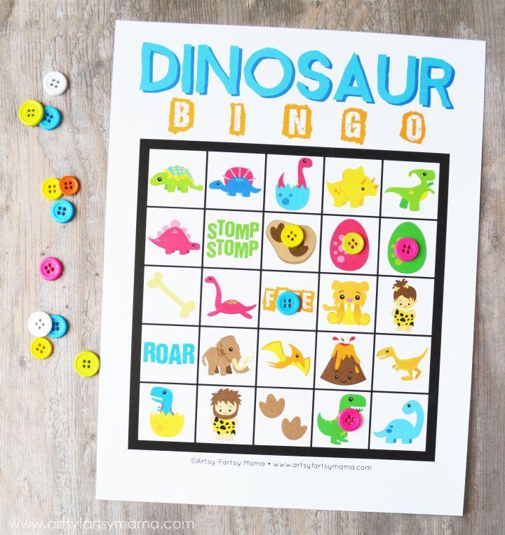 Free Printable Dinosaur Bingo at artsyfartsymama.com