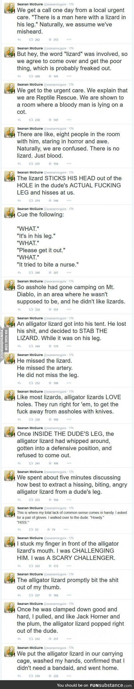 A lizard in a leg. This is crazy. And hilarious.