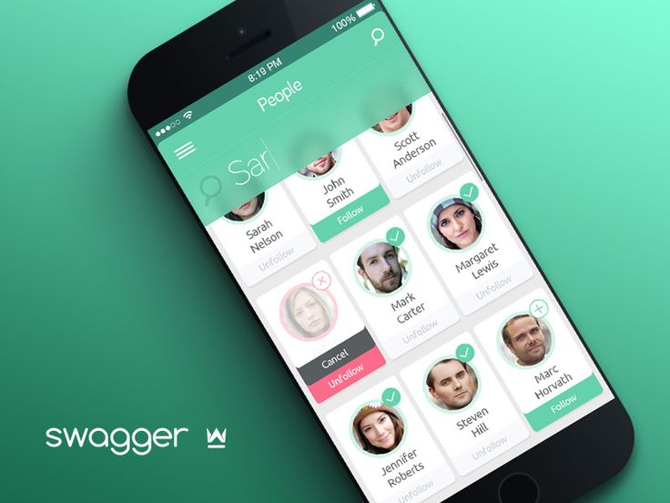 Swagger App Profile Tile Grid Select Screen | Mobile App User Interface Design