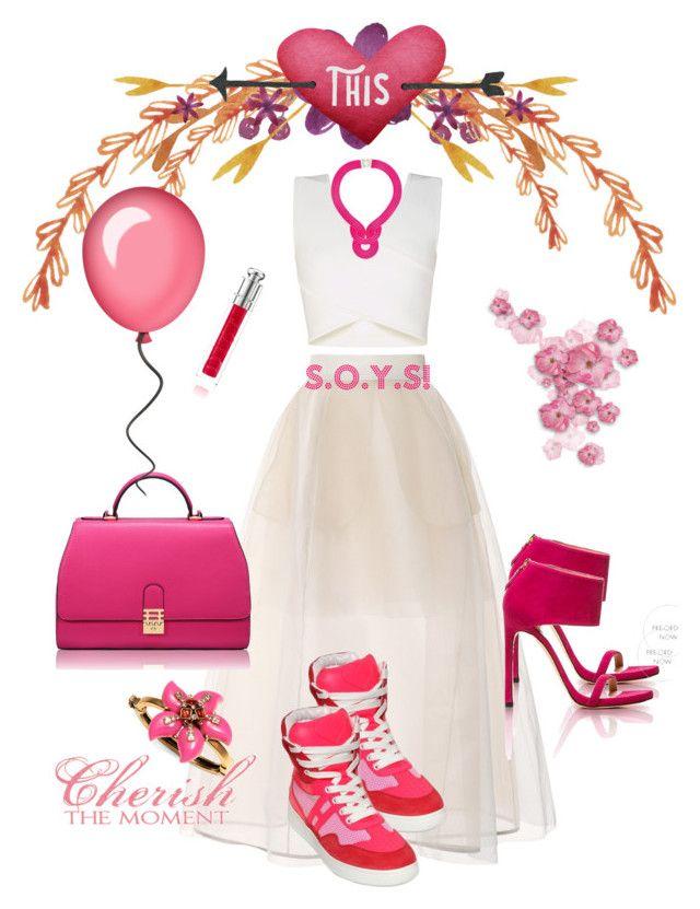 """Cherry blossom!"" by storyofyourstyle on Polyvore featuring Delpozo, BCBGMAXAZRIA, Lara Bohinc, Oscar de la Renta, Stuart Weitzman, Florian London, Hogan and Christian Dior"