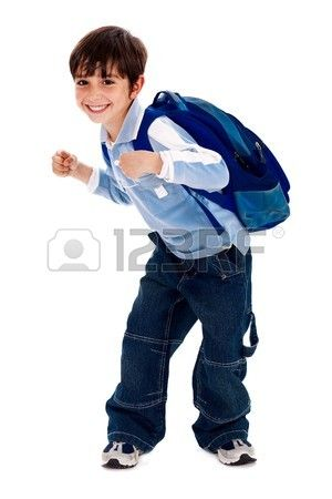 Adorable young kid ready for school with his bag on isolated white background