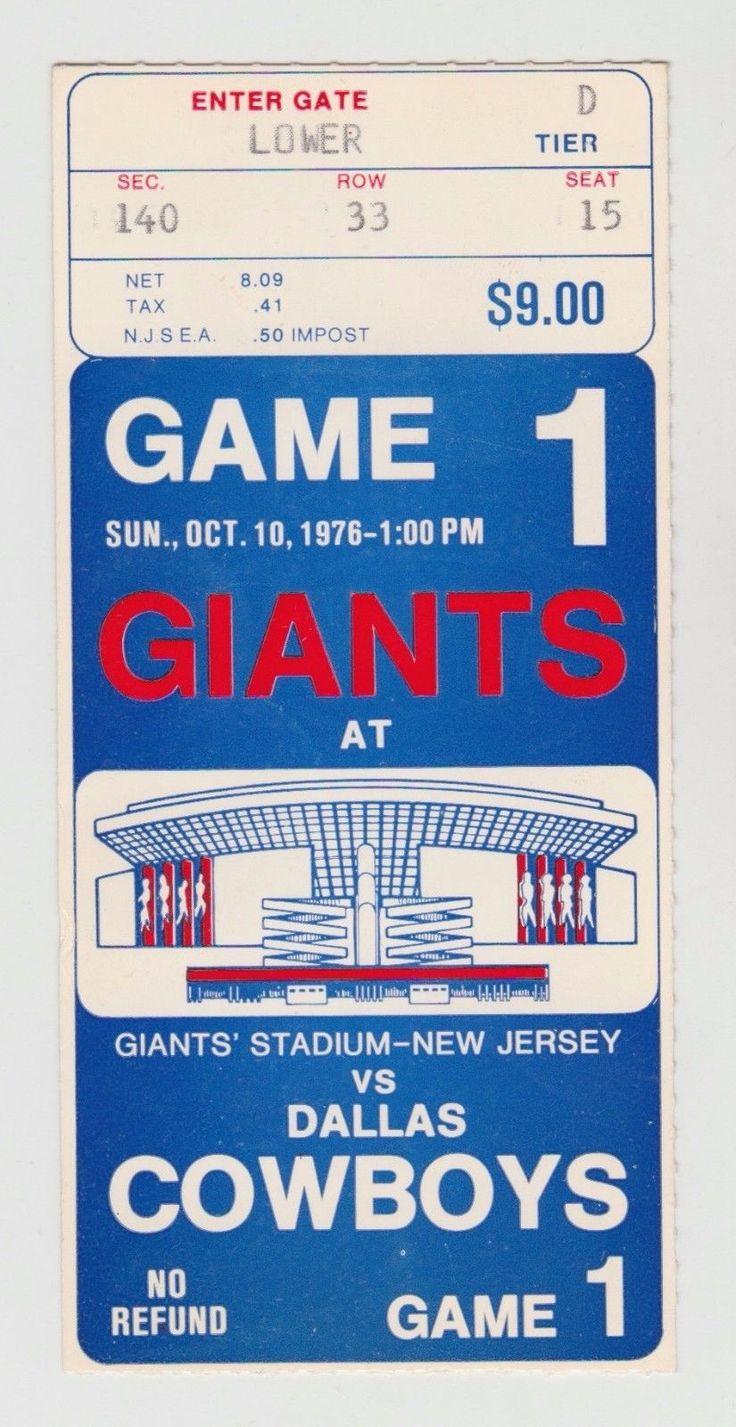 DALLAS COWBOYS VS NY GIANTS 10/10/76 GIANTS STADIUM INAUGURAL GAME TICKET STUB | eBay