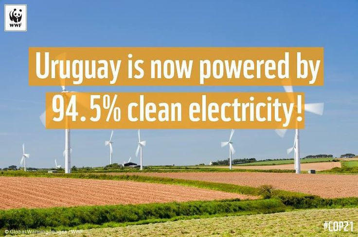 Thats right - 94.5% of Uruguays electricity is now generated by #clean #renewable energy! In less than 10 years #Uruguay has shown the world how simple a transition to clean energy can be. Theyve slashed their carbon footprint without any increase in consumer costs!! by wwf