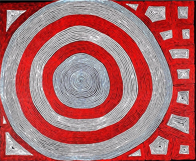 A very large and very striking Ronnie Tjampitjinpa, Big Moon Dreaming http://gallery.aboriginalartdirectory.com/aboriginal-art/ronnie-tjampitjinpa/big-moon-dreaming.php