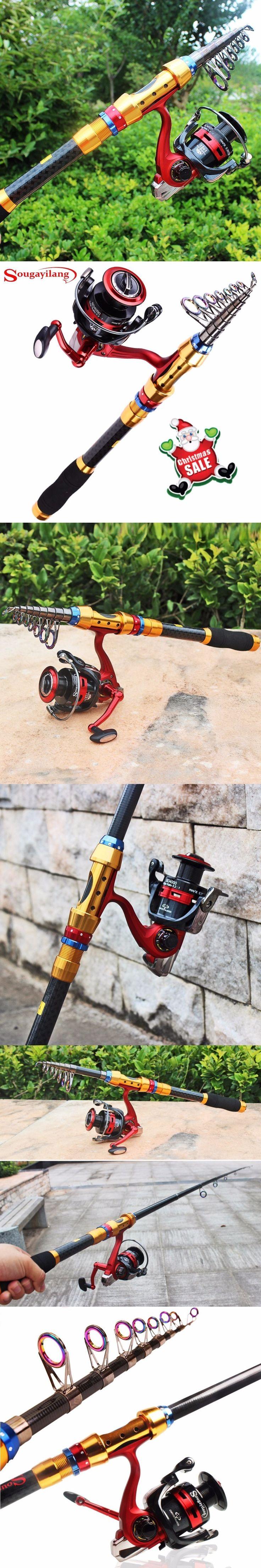 Sougayilang 1.8-3m Telescopic Fishing Rod and 13+1BB Fishing Reel Wheel Carbon Fiber Fishing Rod Spinning Fishing Reel Combo #fishingrod