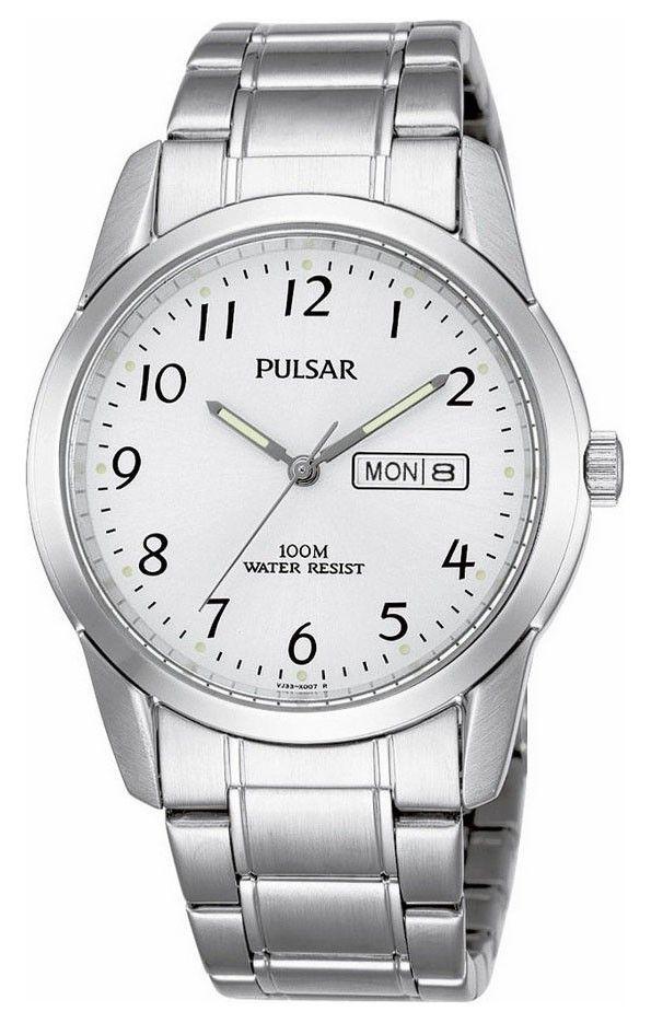 Pulsar Herenhorloge PJ6025X1. Een tot 100 meter waterdicht horloge. Zilverkleurig uitgevoerd met witte wijzerplaat. Het glas is gemaakt van Hardlex en is dus extra sterk. Dag en datum aanduiding. De wijzers hebben een fluorescerende laag en lichten op in het donker als het horloge kort daarvoor aan het licht is blootgesteld.