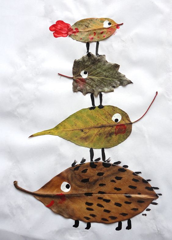 Fun craft for fall-- glue leaves and turn them into cute critters
