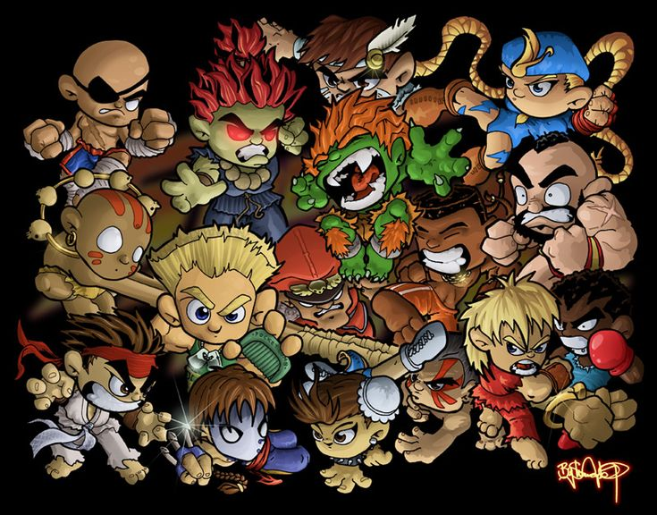 Chibi Street Fighter Group by Shauno