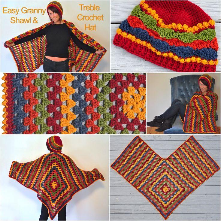 Michele Maks' Easy #Granny #Shawl & Treble #Crochet #Hat in Lion Brand Wool-Ease.
