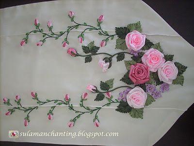 Artesanato Fofo: Bordado com Fita flores maravilhosas