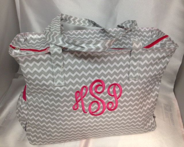 Grey chevron diaper bag laminate monogram by CustomThreadsShop, $49.00