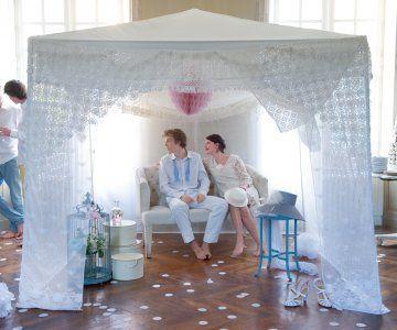 Un abri de jardin en dentelle pour un mariage //  garden shed, wedding, party, cute, white, love, lace