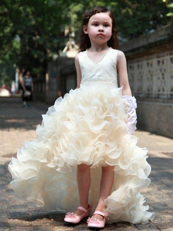 A-line V-neck Organza Asymmetrical Beading New Arrival Flower Girl Dresses