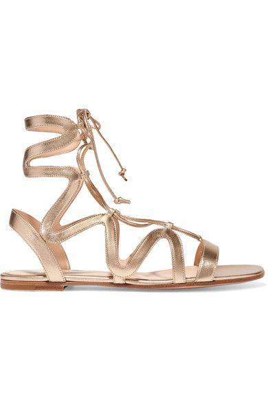 Gianvito Rossi - Lace-up Metallic Leather Sandals - Gold - IT40.5