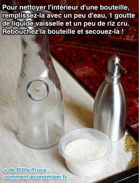 À cause du goulot, ce n'est pas facile de nettoyer l'intérieur d'une bouteille.  Découvrez l'astuce ici : http://www.comment-economiser.fr/nettoyer-interieur-d-une-bouteille-.html?utm_content=buffer8a48f&utm_medium=social&utm_source=pinterest.com&utm_campaign=buffer
