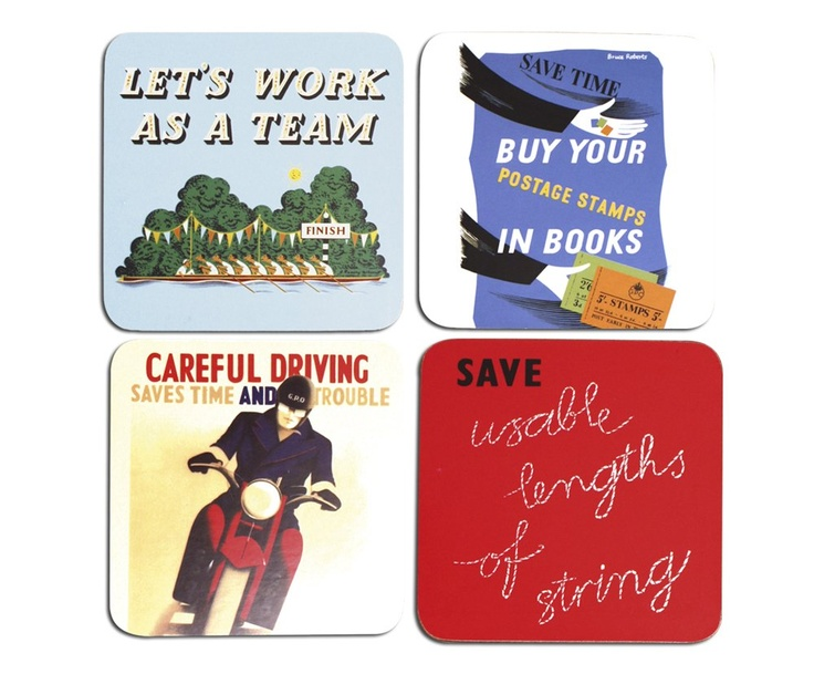 £6.99 | A set of 4 coasters featuring images based on a selection of GPO posters from The British Postal Museum & Archive. Each coaster measures 10.6x10.6cm, with cork backing and wipe clean surface.