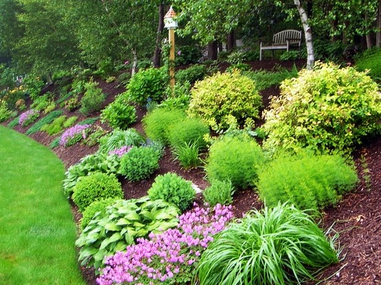 Sloping Backyard Home Landscape With Mulches And Ornamental Grases Sloped Landscaping Ideashome Pictures