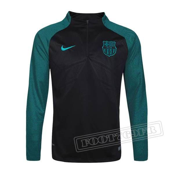 Dernier Sweatshirt Training Fc Barcelone 2016-2017 France Thai Edition Noir/Vert