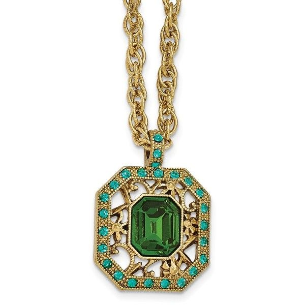 1928 Jewelry - Gold-tone Blue and Green Crystal Fancy w/3in ext. ($32) ❤ liked on Polyvore featuring jewelry, necklaces, gold tone necklace, long blue necklace, green jewelry, crystal stone necklace and blue jewelry