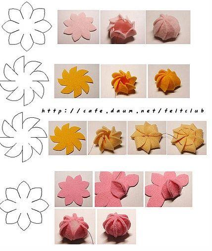 felt flowers/buds. Templates for 3d shapes.