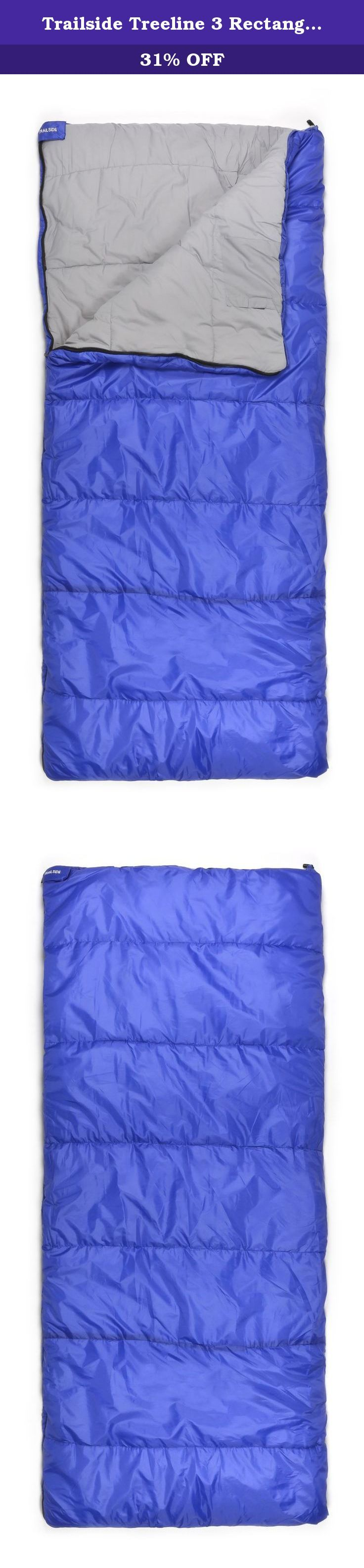 Trailside Treeline 3 Rectangular Synthetic 14-Degree Sleeping Bag, Blue. The Treeline 3 is a great all-purpose 3 season bag. It is filled with two layers of Insufil 1 hollow fiber insulation weighing 3 pound (1.36 kg), providing a temperature rating of 14DegreeF (-10DegreeC). The outer shell is polyester taffeta and the lining is poly/cotton fabric. The insulated draft tube prevents heat loss through the #5 2-way zipper and unzips fully for use as a blanket. It measures 80-Inch x 34-Inch...